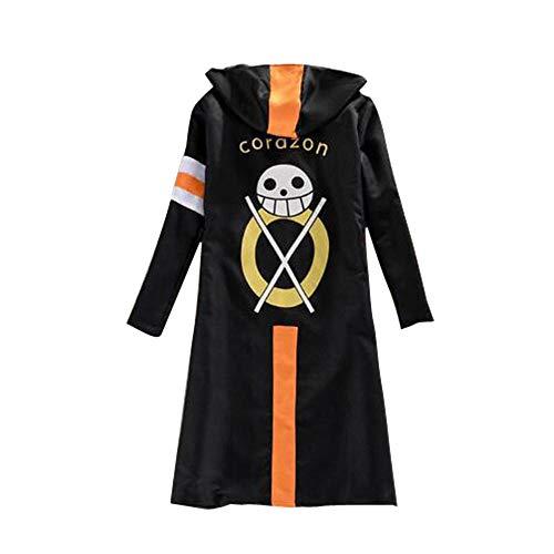 CHANGL Einteiliges Cosplay-Kostüm Trafalgar Law CloakMen Adult SchwarzerMantel Japanischer Anime Langarm mit Hut Cool Style Cartoon