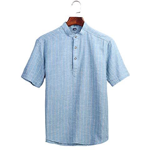 Camisa de Cuello Alto con Botones para Hombre Camisa de Manga Corta con Estampado de Rayas Retro Camisa de Moda Informal Transpirable Slim Fit Large