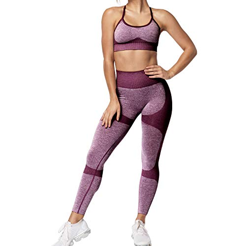 Women 2 Piece Outfits Leggings+Sports Bra Yoga Set Compression Skinny Tights Gym Fitness bbmee Pants Exercise Outfits Plum Purple