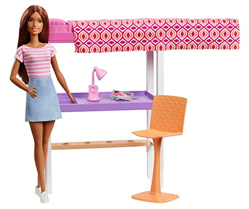 Barbie Doll and Furniture Set, Loft Bed with Transforming Bunk Beds and Desk Accessories, Gift Set for 3 to 7 Year Olds​​​​