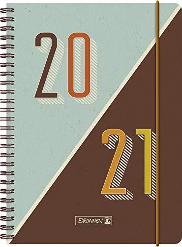"""BRUNNEN 1072150051 """"Retro"""", Wochenkalender/Schülerkalender 2020/2021, 2 Seiten = 1 Woche , Blattgröße 14,8 x 21 cm , A5 , PP-Einband"""