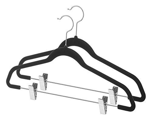 Whitmor Flocked Suit Hangers wClips Set of 2 Black