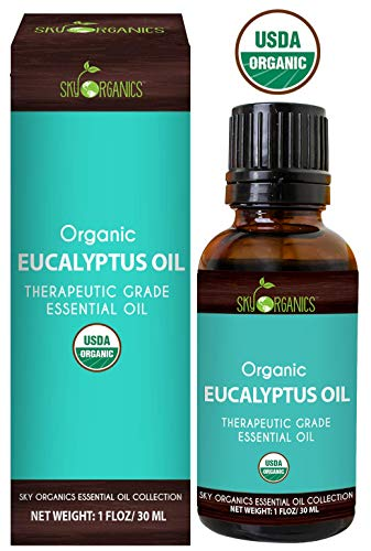 Eucalyptus Essential Oil by Sky Organics (1oz) 100% Pure Therapeutic Grade Oil for Diffuser, Aromatherapy, Massage Oil, Allergies, Headaches, Joint Pain - Scented Oil for Candles and DIY