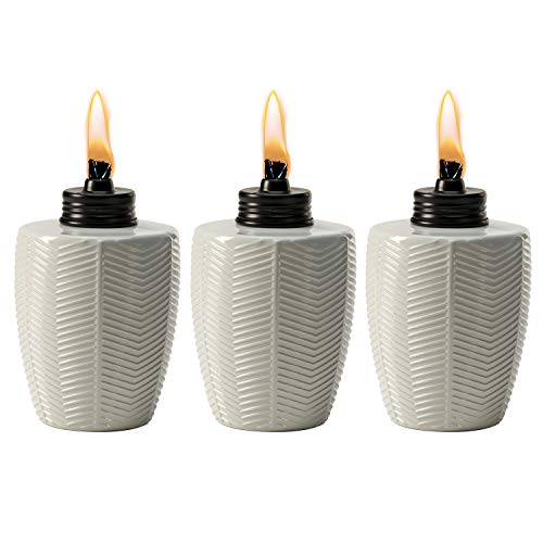 TIKI Brand Herringbone White Glass Tabletop Torch (Set of 3)