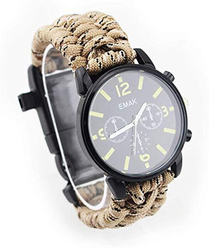 Outdoor Adventure Reloj multifunción, cuerda de siete núcleos, termómetro, silbato, brújula, impermeable y resistente a los golpes, color gris