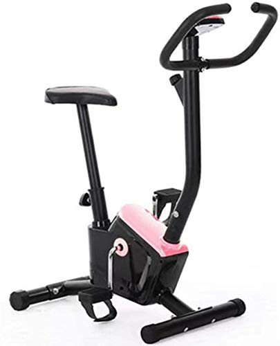 Ultra Compact Exercise Bike Comfortable Saddles 8 Resistance Levels Max.100kg with LCD Display Fitness Exercise Bike Pink
