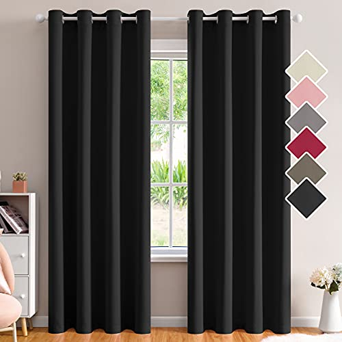 Bedroom Blackout Curtains with Tieback 52x96 Inches Long Top Room Thermal Insulated Curtains & Drapes Darkening Noise Reducing Light Blocking Window Curtain Panels for Living Room 2 Panels,Black