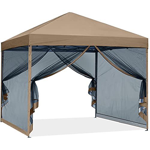 ABCCANOPY Outdoor Easy Pop up Canopy Tent with Netting Wall, 10x10 Khaki
