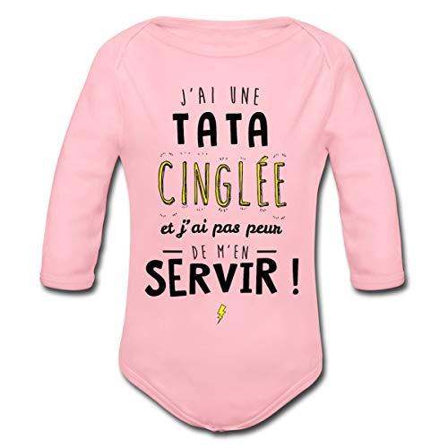 Spreadshirt J'Ai Une Tata Cinglée Body Bébé Bio Manches Longues, 6-9 Mois, Rose Clair