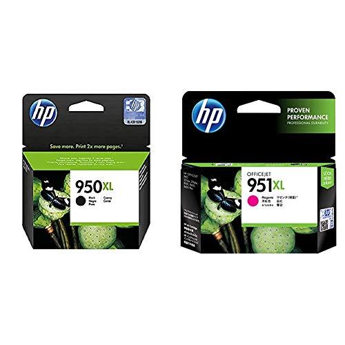 HP 950XL Cartucho de Tinta Original de Alta Capacidad, Negro + 951XL CN047AE Magenta, Cartucho de Alta Capacidad Original, de 1.500 páginas