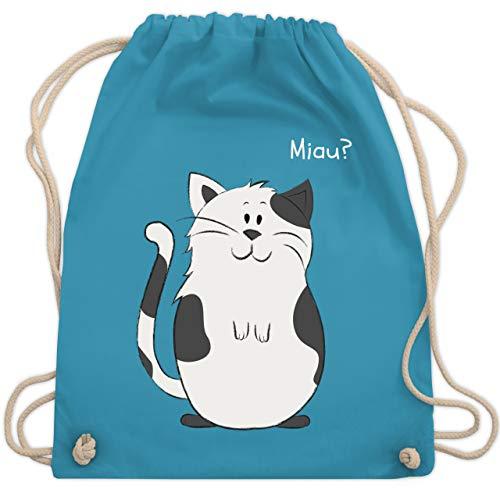 Shirtracer Tiermotiv Animal Print - lustige Katze - Unisize - Hellblau - kinder sportbeutel - WM110 - Turnbeutel und Stoffbeutel aus Baumwolle
