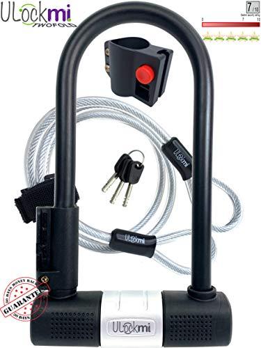 Fietsslot - Fiets U-slot met kabel zware uitvoering beugelslot D-vormig 14 mm beugel en 10 mm x 1,2 m beveiligingskabel 3 sleutels Montagebeugel weerbestendig U slot voor fietsen, scooters, elektrische fietsen, vouwfietsen, mountainbikes
