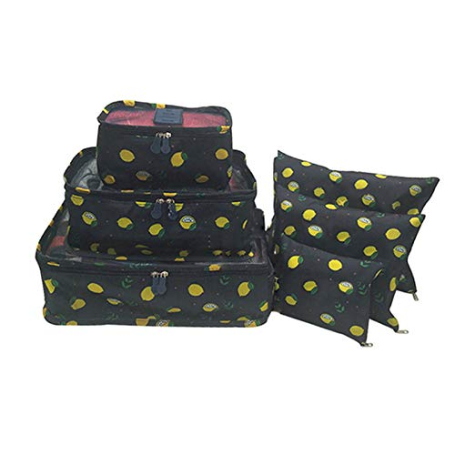Marlon Nancy 6 Pcs Packing Cubes, Travel Luggage Organisers Toiletry Bags for Placing Cosmetics, Personal Toiletries and Clothes(Lemon)