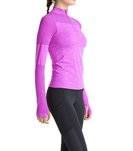 Slimour Women Quarter Zip Pullover Running Shirts Long Sleeve Activewear Tops Tight Workout Purple S
