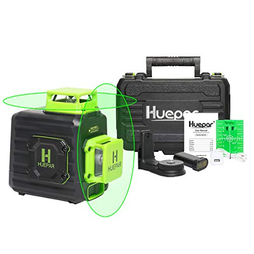 Huepar 2 x 360 Cross Line Selfleveling Laser Level 360° Green Beam Dual Plane Leveling and Alignment Laser Tool Liion Battery with TypeC Charging Port amp Hard Carry Case Included  B02CG