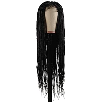 """Braided Wigs Shining Star 30"""" Pure Handmade Micro Braided Straight Synthetic Hair Lace Front Wigs with Babay Hair for Women"""