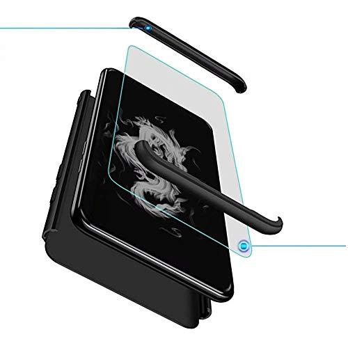 Kompatibel mit Oppo Find X2 Neo Smartphone Hülle(2020)+3D Panzerglas/Hülle Ultra Dünn 3 in 1 Schutzhülle 360 Grad Stoßfest Hülle Cover Handyhülle für Oppo Find X2 Neo-Schwarz