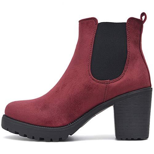 FLY 4 Chelsea Boots Plateau Stiefeletten in vielen Farben und Mustern (40, Wein-Rot)