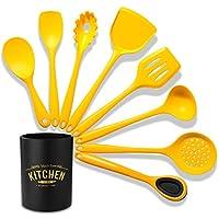 調理器具セット、シリコンキッチン用品セット黄色の耐熱キッチン用品セットBPAキッチン用品ヘラセット焦げ付き防止調理器具