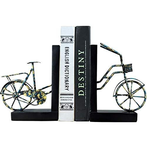 fermalibri decorativi Metallo biciclette Bookends Heavy Duty dipinto a mano libro si conclude Supporto for ripiani Uffici Book Shelf casa del supporto 1Pairs decorativi Fermalibri SlipDecorative