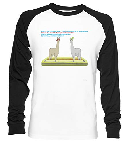 Vergebung Unisex Baseball T-Shirt Langarm Herren Damen Weiß Schwarz