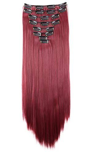 PRETTYSHOP XXL 8 pièces SET tête entière Clipser dans les extensions Extension de cheveux postiche résistant à la chaleur lisse 60 cm rouge bourgogne # 118 CES10