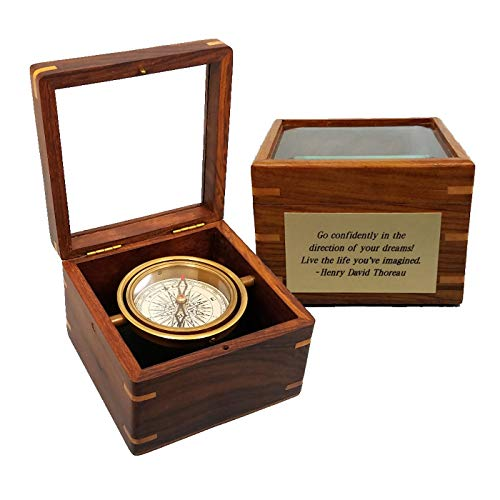 Small Boxed Compass with Beveled Glass Lid (Personalized)