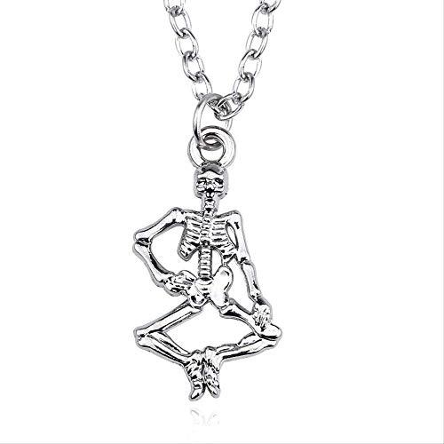 VAWAA Collar de Calavera gtica Crneo Esqueleto Collar de Hueso de Mano Disfraz de joyera de Halloween Disfraz para Mujeres Hombres