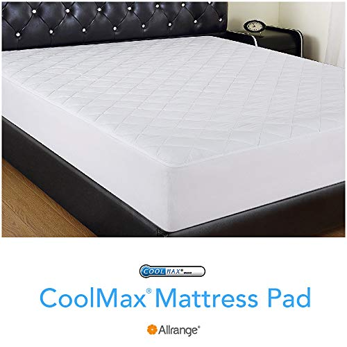 Allrange Breathable Coolmax Quilted Mattress Pad, Coolmax and Cotton Fabric Cover, Snug Fit Stretchy to 18
