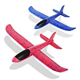 Foam Glider Airplane Toys Aircraft Hand Throwing Planes 13.5' Flying Aeroplane Model Outdoor Sports Toys 3 Flight Mode Birthday Party Favor Gift for Kids 2 Pack (Red & Blue)