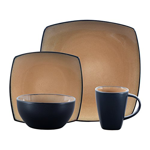 Gibson Soho Lounge Dinnerware set, Square, Taupe Dark Brown Dining Set