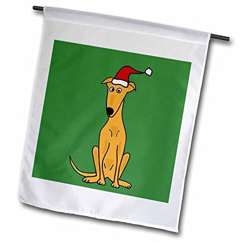 3dRose FL_200596_1 Lustiger Windhund-Welpe mit Weihnachtsmütze, Weihnachtskunst, Gartenflagge, 30,5 x 45,7 cm
