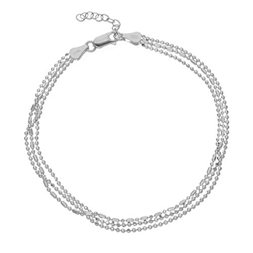 LillyMarie Damen Fusskettchen aus 925 Silver Sterling-Silber Silber Längen-verstellbar Satin-Beutel Geschenk für Frauen