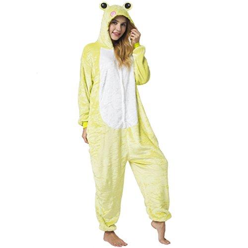 Katara 1744 -Frosch Kostüm-Anzug Onesie/Jumpsuit Einteiler Body für Erwachsene Damen Herren als Pyjama oder Schlafanzug Unisex - viele Verschiedene Tiere