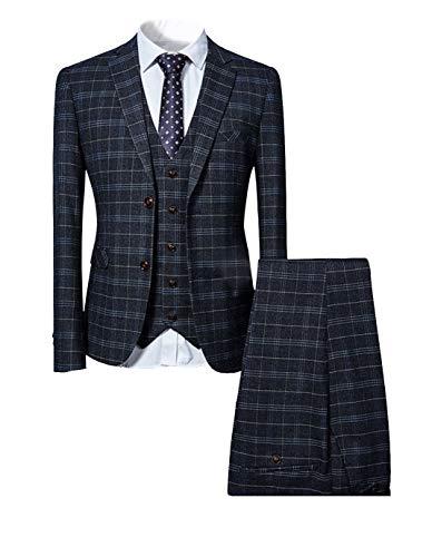 Allthemen Herrenanzug Anzug Herren Anzug Kariert Slim Fit 3 Teilig Anzüge Sakko für Business Hochzeit Schwarz XXX-Large