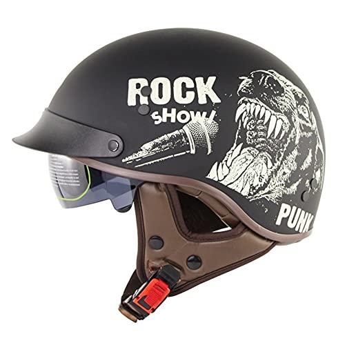 RENTOOR Retro Casco Moto Abierto Medio Casco con Visera UV Gafas Vintage Open-Face Casco Moto Abierto Half-Face Helmets para Bike Chopper Scooter, ECE/Dot Homologado Oksmsa