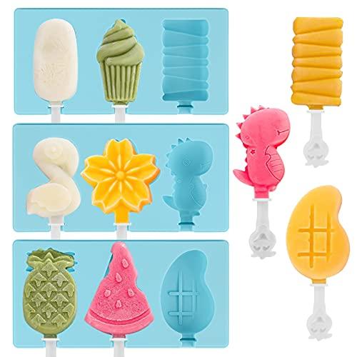 Eisformen, 3 Stück 9 Zellen Silikon EIS am Stiel Formen, Eisförmchen wiederverwendbar, Eisformen BPA Frei, für Kuchenform Dessertform DIY Frozen Dessert Eisformen für Kinder Erwachsene