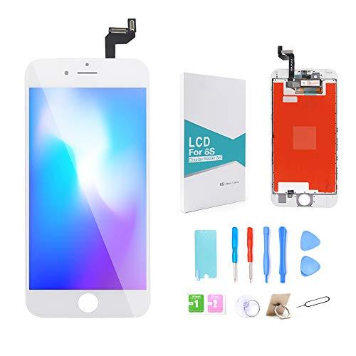 GLOBALGOLDEN Reemplazo de Pantalla para iPhone 6S Blanco, Pantalla táctil LCD Digitalizador Conjunto de Cuadros con Kit de reparación