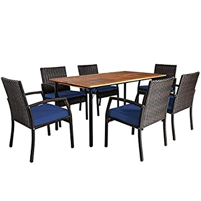 Tangkula 7 Pieces Patio Dining Set, Acacia Wood Wicker Dining Furniture Set with Sturdy Steel Frame & Umbrella Hole, Outdoor Dining Table Chair Set with Removable Cushions for Backyard, Garden (Blue)
