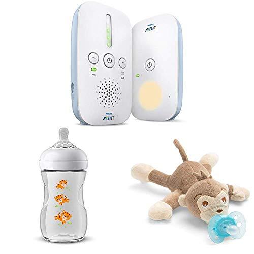 Philips Avent Audio-Babyphone SCD503/26 Geschenk - Set mit Natural Flasche Tiger - Design und Schnullertier Affe