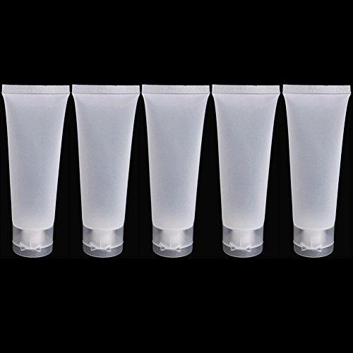 5 tubes de voyage en plastique pour crème, lotion givré 50 ml