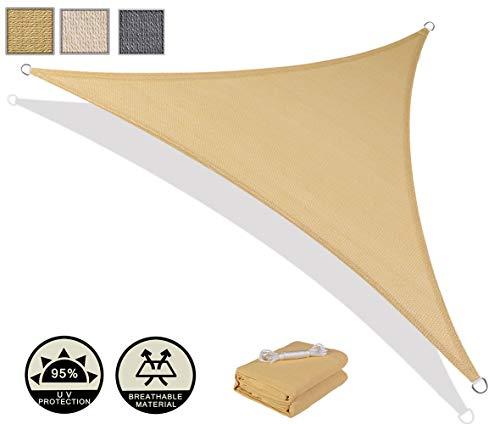 AXT SHADE Toldo Vela de Sombra Triangular 3 x 3 x 4,25 m, protección Rayos UV y HDPE Transpirable para Patio, Exteriores, Jardín, Color Arena