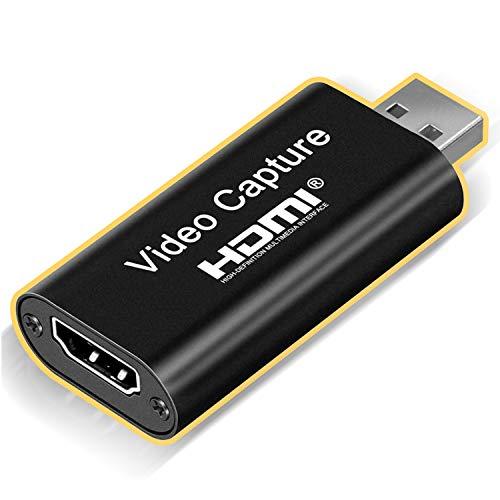 ONTA Cartes De Capture Audio Vidéo HDMI vers USB 1080p UBS2.0 Enregistrement Via Caméscope DSLR Action Cam, 4K Full HD, Qualité Haute Définition pour La Diffusion en Direct, l'enseignement, Les Jeux