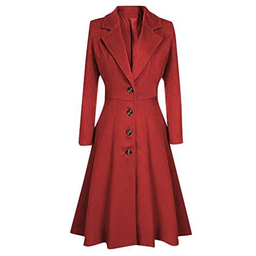 Ashui Damen Lang Mantel Wollmantel Trenchcoat Wintermantel Einfarbig Elegante Übergangsjacke Winterjacke Parka Jacke mit Knopf Cardigan Weicher Dufflecoat Lässige Outwear
