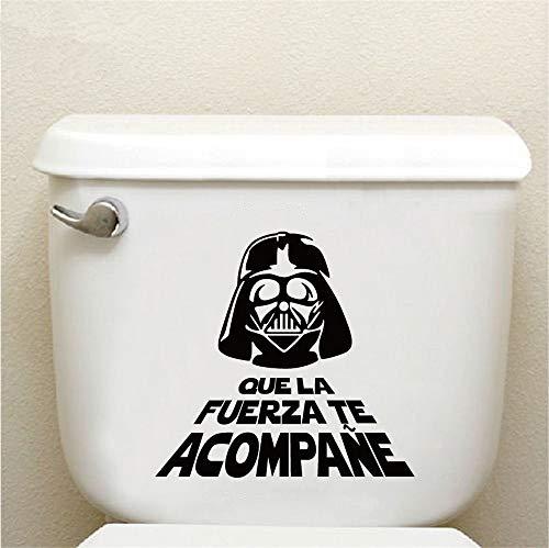 Pegatina de pared de vinilo de Star Wars Cita en español Que La Fierza Te Acompane Wc Pegatinas de inodoro Arte de la pared de dibujos animados Tatuajes de decoración para el baño Baño de etiqueta
