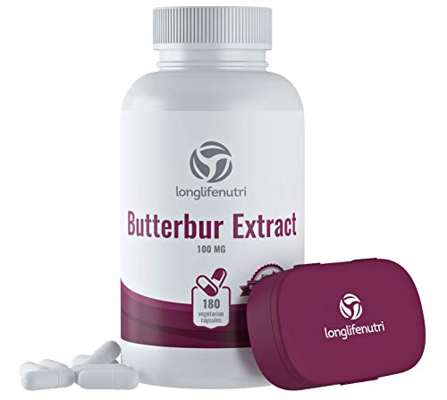 Butterbur Extract 100mg 180 Vegetarian Capsules | Made in USA | Natural Headache Supplement | Migraine and Allergy Relief | Supports Healthy Bladder and Inflammation | 100 mg Pure Powder Pill Formula