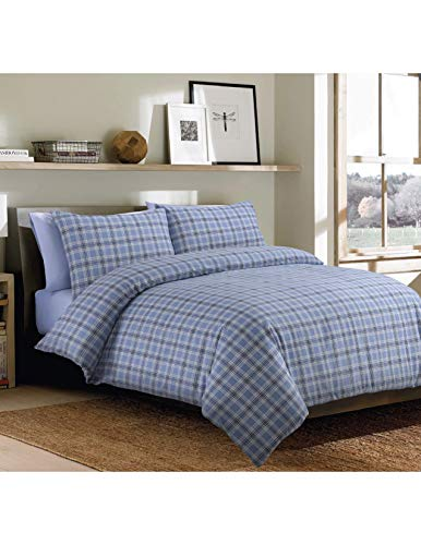 Sleepdown Bonton Flannel Blue Plaid Soft Duvet Cover Quilt And Bedding Set With Pillowcases - King (220cm x 230cm)