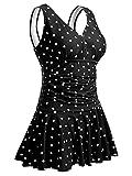 Mujer Bañador con Falda Traje de Baño de Una Pieza de Talla Grande Impresión Elegante Sexy Push Up Monokini Negro/Punto M