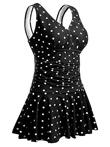 Summer Mae Costume da Bagno Interi Donna Vestito Costumi Mare con Stampa Taglie Forti Punti Nero EU 4XL