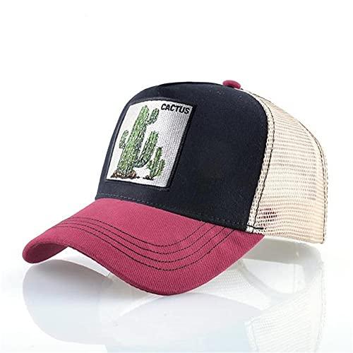 Gorras de béisbol de Moda Hombres Mujeres Snapback Hip Hop Sombrero Verano Malla Transpirable Sun Gorras Unisex Streetwear-Red2 Cactus